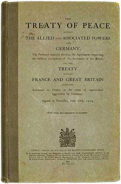 Capa do Tratado de Versalhes – 1919